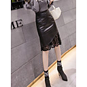 cheap Makeup Sponges-Women's Street chic / Sophisticated Bodycon Skirts - Solid Colored Lace / Patchwork Black S M L / Slim