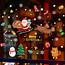 olcso Christmas Stickers-karácsonyi santa szarvas ablak film& matrica dekorációs mintás / karácsonyi geometriai / karakter pvc (polivinil-klorid) ablakmatrica / ajtómatrica