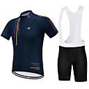 ราคาถูก ปลอกแขนกันแดดและกางเกงกันแดด-Vendull สำหรับผู้ชาย แขนสั้น Cycling Jersey with Bib Shorts สีดำ สีดำ / สีขาว จักรยาน ชุดออกกำลังกาย ระบายอากาศ แห้งเร็ว ออกแบบตามสรีระ ฤดูหนาว กีฬา สีทึบ ขี่จักรยานปีนเขา Road Cycling เสื้อผ้าถัก
