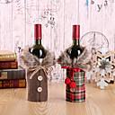 baratos Acessórios de vinho-2 pcs estilo criativo da garrafa de vinho natal nova roupa papai noel capa vestido conjunto decoração