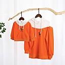 billige Sett med familieklær-Mamma og meg Fargeblokk Hettegenser og sweatshirt Oransje