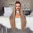 billiga Syntetisk hårförlängning-Syntetiska peruker Kinky Rakt Middle Part Peruk Blond Lång Ljusguldig Syntetiskt hår 28 tum Dam Dam Blond