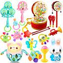 ราคาถูก เงินปลอม เงินของเล่น-15 ชิ้นที่มีสีสันเด็กหลายรูปร่างแหวนทารกของเล่นระฆัง