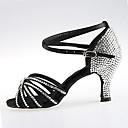זול נעליים לטיניות-בגדי ריקוד נשים נעלי ריקוד סטן נעליים לטיניות פאייטים / אבזם / פרטים מקריסטל עקבים עקב עבה שחור / חום