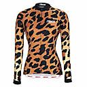 povoljno Biciklističke majice-21Grams Žene Dugih rukava Biciklistička majica Crno bijela  / Crna / Orange Leopard Bicikl Biciklistička majica Majice Ugrijati Prozračnost Quick dry Sportski Zima 100% poliester Brdski biciklizam