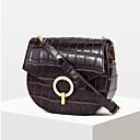 olcso Keresztpántos táskák-Női Marhabőr Vállon átvetős táska Tömör szín Fekete