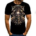 povoljno Choker ogrlice-Majica s rukavima Muškarci - Rock / Ulični šik Halloween / Praznik Color block / 3D / Lubanje Print Crn