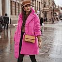 billige Mote Boots-Dame Daglig Normal Faux Fur Coat, Ensfarget Aftæpning Langermet Fuskepels Fuksia