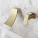 povoljno Stropna svjetla i ventilatori-Kupaonica Sudoper pipa - Waterfall Brušeno zlato Zidne slavine Jedan obrađuju dvije rupeBath Taps