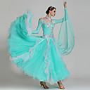 ราคาถูก ชุดเต้น Ballroom-ชุดเต้นรำโมเดิร์น ชุดเดรสต่างๆ สำหรับผู้หญิง Performance สแปนเด็กซ์ / ออแกนซ่า / Tulle เข็มกลัด / คริสตัล / พลอยเทียมต่างๆ แขนยาว สูง ชุดเดรส / Neckwear