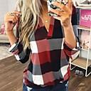 billige Topper til gutter-V-hals Store størrelser Skjorte Dame - Ruter Blå