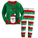 Χαμηλού Κόστους Σετ ρούχων για αγόρια-Παιδιά Αγορίστικα Βασικό Ριγέ Χριστούγεννα Μακρυμάνικο Σετ Ρούχων Πράσινο του τριφυλλιού