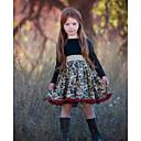 Χαμηλού Κόστους Σετ ρούχων για κορίτσια-Παιδιά Κοριτσίστικα Φλοράλ Μακρυμάνικο Ως το Γόνατο Φόρεμα Μαύρο