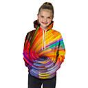 billige LED Sko-Barn Baby Jente Aktiv Grunnleggende Geometrisk Trykt mønster 3D Trykt mønster Langermet Hettegenser og sweatshirt Regnbue