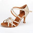 baratos Sapatos de Dança Latina-Mulheres Sapatos de Dança Sintéticos Sapatos de Dança Latina Gliter com Brilho / Presilha / Detalhes em Cristal Salto Salto Carretel Personalizável Dourado / Ensaio / Prática