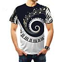 Χαμηλού Κόστους Ενσύρματα ακουστικά-Ανδρικά Μεγάλα Μεγέθη T-shirt Βασικό Συνδυασμός Χρωμάτων Στρογγυλή Λαιμόκοψη Στάμπα Μαύρο / Κοντομάνικο