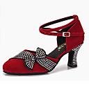 Χαμηλού Κόστους Ημέρα επιστροφής στο σπίτι-Γυναικεία Μοντέρνα παπούτσια / Αίθουσα χορού Σατέν Cross Strap Τακούνια Αστραφτερό Γκλίτερ / Κρυστάλλινη λεπτομέρεια / Κρύσταλλο / Στρας Κουβανικό Τακούνι Εξατομικευμένο Παπούτσια Χορού / Επίδοση