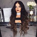 Χαμηλού Κόστους Συνθετικές περούκες με δαντέλα-Συνθετικές Περούκες Κατσαρά Ίσια Μέσο μέρος Περούκα Μακρύ Σκούρο καφέ / Σκούρο Auburn Συνθετικά μαλλιά 26 inch Γυναικεία Γυναικεία Σκούρο Καφέ