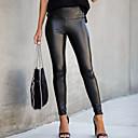 billiga Sexiga uniformer-Dam Streetchic Skinny Smal Byxor - Enfärgad Svart PU Svart S M L