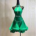 זול אקזוטי Dancewear-ריקוד לטיני שמלות בגדי ריקוד נשים הדרכה Chinlon פרטים מפנינה / אבנטים / סרטים / מפרק מפוצל ללא שרוולים גבוה שמלה / חגורה