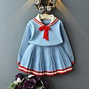 Χαμηλού Κόστους Σετ ρούχων για κορίτσια-Παιδιά Κοριτσίστικα Βασικό Μονόχρωμο Μακρυμάνικο Σετ Ρούχων Μπλε Απαλό