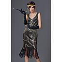 Χαμηλού Κόστους Στολές της παλιάς εποχής-The Great Gatsby Τσάρλεστον 1920s Gatsby Χρυσή δεκαετία του '20 Κορδέλα μαλλιών του 1920 Γυναικεία Πούλιες Στολές Μαύρο / Χρυσαφί / Σαμπανιζέ Πεπαλαιωμένο Cosplay Πάρτι Καλωσόρισμα Χοροεσπερίδα