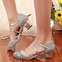 billige Ballroom-sko og moderne dansesko-Dame Dansesko Netting Moderne sko Høye hæler Slim High Heel Svart / Gull / Sølv / Trening