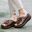 זול נעלי ספורט לנשים-בגדי ריקוד נשים כפכפים & כפכפים שטוח בוהן עגולה עור קיץ קפה