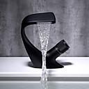 billiga Fristående tvättställ-Badrum Tvättställ Kran - Vattenfall Krom / svart Centerset Singel Handtag Ett hålBath Taps