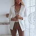 ราคาถูก เสื้อคลุมผู้หญิง-สำหรับผู้หญิง เสื้อคลุมสุภาพ, สีพื้น คอแสตนด์ เส้นใยสังเคราะห์ สีดำ / ขาว / สีแดงชมพู