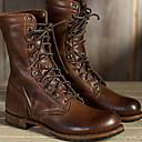 baratos Botas Femininas-Mulheres Botas Sapatos Confortáveis Sem Salto Ponta Redonda Couro Ecológico Botas Cano Médio Outono & inverno Marron