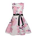 Χαμηλού Κόστους Φορέματα για κορίτσια-Παιδιά Κοριτσίστικα Ενεργό Γλυκός Φλοράλ Αμάνικο Ως το Γόνατο Φόρεμα Ανθισμένο Ροζ