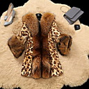 billiga Modehalsband-Dam Dagligen Normal Fur Coat, Leopard Rullad krage Långärmad Fuskpäls Gul