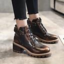 billige Mote Boots-Dame Støvler Blokker hælen Rund Tå Spenne PU Ankelstøvler Vintage / minimalisme Vår & Vinter / Høst vinter Svart / Brun / kaffe
