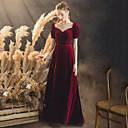 זול שמלות שושבינה-גזרת A מחשוף V עד הריצפה קטיפה סגנון של מפורסמים נשף רקודים שמלה עם על ידי LAN TING Express / בלון\מנופח