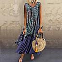 Χαμηλού Κόστους Γυναικεία Πέδιλα-Γυναικεία Σιφόν Φόρεμα - Συνδυασμός Χρωμάτων, Στάμπα Μακρύ