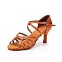 baratos Sapatos de Dança Latina-Mulheres Sapatos de Dança Cetim Sapatos de Dança Latina Salto Salto Alto Magro Preto / Marron / Caqui