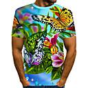 baratos Sapatos Esportivos Femininos-Homens Camiseta Moda de Rua / Exagerado Estampado, Floral / 3D / Animal Arco-íris
