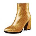 ราคาถูก รองเท้าบูตผู้หญิง-สำหรับผู้หญิง บูท ส้นหนา Pointed Toe หนังนิ่ม / PU ฤดูใบไม้ร่วง & ฤดูหนาว สีน้ำตาล / ขาว / สีทอง