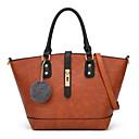 ราคาถูก กระเป๋า Totes-สำหรับผู้หญิง เส้นใยสังเคราะห์ / PU กรเป๋าหิ้ว ลายบล็อคสี สีดำ / สีน้ำตาล / ไวน์