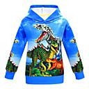 ราคาถูก ฟิกเกอร์ไดโนเสาร์-เด็ก เด็กผู้ชาย พื้นฐาน Dinosaur ลายพิมพ์ ลายพิมพ์ แขนยาว เสื้อมีฮู้ดและเสวตเชิร์ต สีน้ำเงิน
