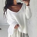 זול תיקי יד-S / M / L שחור / לבן צווארון V פוליאסטר, סוודר רגיל שרוול ארוך אחיד בגדי ריקוד נשים