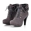 ราคาถูก รองเท้าบูตผู้หญิง-สำหรับผู้หญิง บูท ส้น Stiletto ปลายกลม หนังนิ่ม รองเท้าบู้ทหุ้มข้อ ฤดูใบไม้ร่วง & ฤดูหนาว สีดำ / สีน้ำตาล / สีเทา