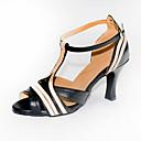 baratos Sapatos de Dança Latina-Mulheres Sapatos de Dança Couro Ecológico Sapatos de Dança Latina Salto Salto Cubano Personalizável Preto