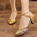 Χαμηλού Κόστους Ημέρα επιστροφής στο σπίτι-Γυναικεία Μοντέρνα παπούτσια / Αίθουσα χορού PU Τακούνια Πυκνό τακούνι Παπούτσια Χορού Μαύρο / Χρυσό / Ασημί / Επίδοση