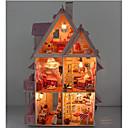 billige Dukkehus-DIY miniatyr tre sjokolade dukkehus villa med LED lys leker