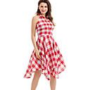 Χαμηλού Κόστους Χωρίς κάλυμμα-Γυναικεία Γραμμή Α Φόρεμα - Τετράγωνο Καρό Ως το Γόνατο Βαθύ V