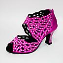 ราคาถูก รองเท้าแบบลาติน-สำหรับผู้หญิง รองเท้าเต้นรำ ซาติน ลาติน คริสตัล / คริสตัล / พลอยเทียม ส้น ส้นCuban สีดำ / สีกรมท่า / สีบานเย็น / Performance / หนังสัตว์ / ฝึก