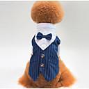 voordelige Hondenkleding-Honden Outfits Smoking Hondenkleding Zwart Blauw Kostuum Polyster Gestreept Bruiloft S M L XL XXL