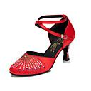 billige Ballroom-sko og moderne dansesko-Dame Dansesko Sateng Moderne sko Gummi / Krystalldetaljer Høye hæler Kubansk hæl Kan spesialtilpasses Svart / Mørkerød / Mandel